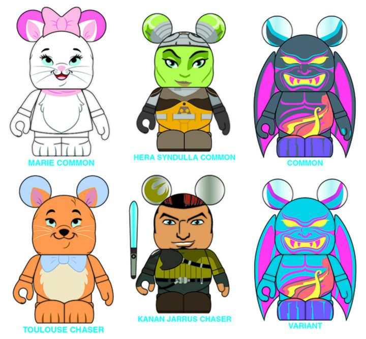 Some of the Vinylmation available at the event - (L to R) Aristocats LE 2000 (with 2 chasers - Marie is 3 out of 4, Toulouse is 1 out of 5, and Berlioz is 1 out of 20) ; Star Wars Rebels LE 1500 (Hera is 9 out of 10); and Fantasia LE 1500 (common Chernabog 9 out of 10)