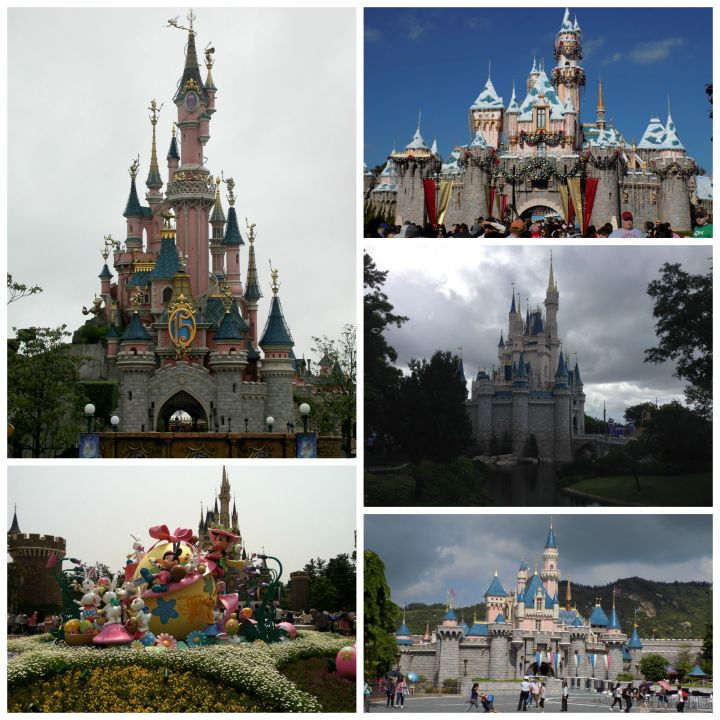 Every Disney castle around the globe - clockwise: Disneyland Paris, Disneyland at Christmas, Walt Disney World, Hong Kong Disneyland, and Tokyo Disneyland
