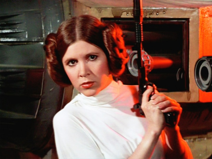 Princess Leia wielding a blaster in Episode IV - A New Hope