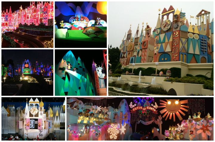 It's A Small World in different incarnations all over the world - L to R: Disneyland at Christmas, Tokyo Disneyland's expanded Japan section, Tokyo Disneyland's facade, Disneyland's Halloween facade, Hong Kong Disneyland's America section, Magic Kingdom's interior facade, the finale of It's A Small World Holiday at Disneyland