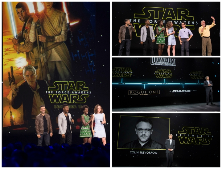 Clockwise from L: Reveal of new Drew Struzan poster for The Force Awakens; Cast of The Force Awakens including Harrison Ford; the Star Wars slate of movies; reveal that Colin Trevorrow will be directing Episode IX