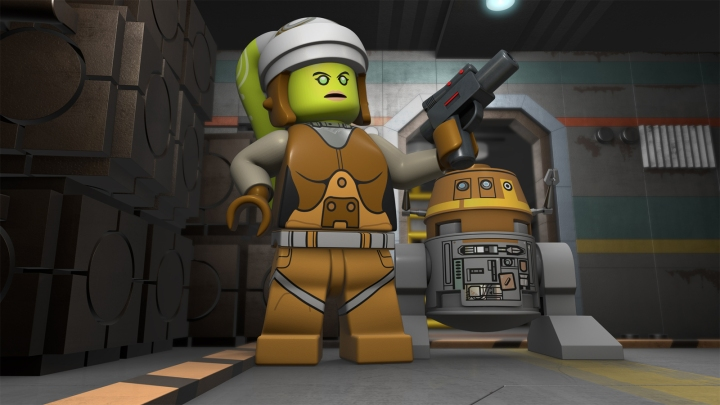 Hera and Chopper from Star Wars Rebels meet C3PO and R2D2