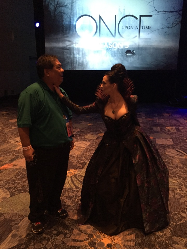 Me getting choked by the Evil Queen - just glad she didn't rip my heart out!