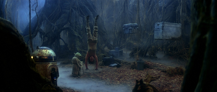 Luke in training on the planet of Dagobah