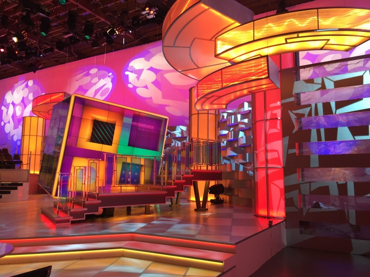 The set of AFV is stunning and lively - and that cube is composed of 64 interlocking big screen plasma monitors!