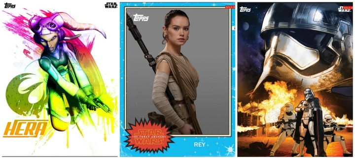 SWCT has some beautiful and interesting cards!  (L to R) - Hera Hyper Color Variant for NYCC, Rey Classic Force Awakens, Captain Phasma Force Awakens Premiere
