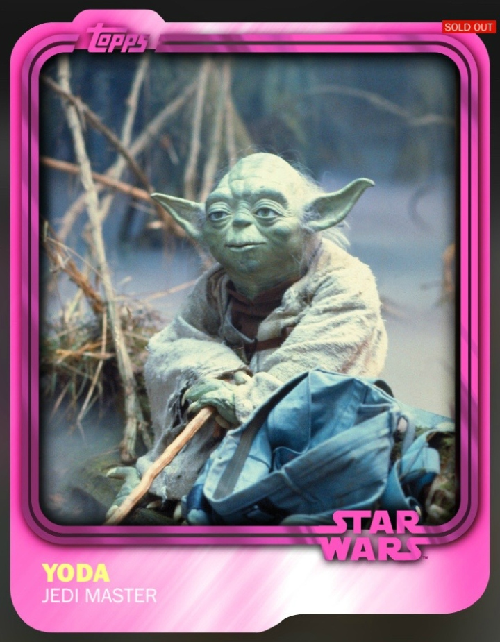 Pink Yoda - one of the most rare cards in the app. Only 10 released