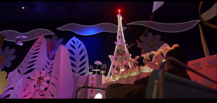 Loved this tiny detail from the movie - riding inside It's A Small World, actually a hidden passageway to another dimension