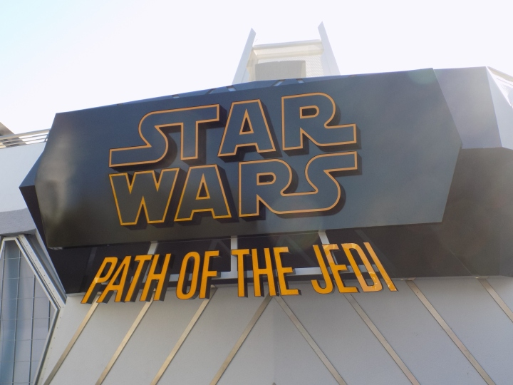 At the entrance to Star Wars: Path of the Jedi - a montage film meant to summarize events leading up to The Force Awakens