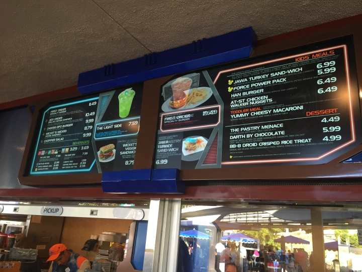 The lunch/dinner menu at Galactic Grill