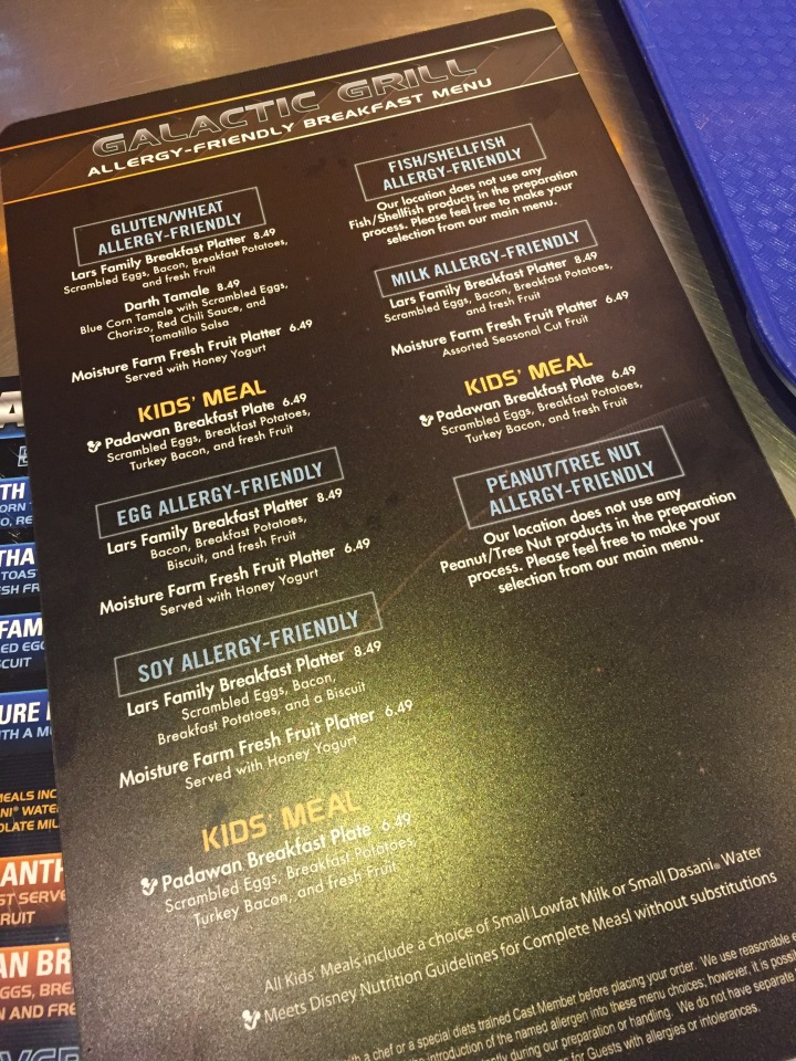 Allergy-friendly menu available at the Galactic Grill