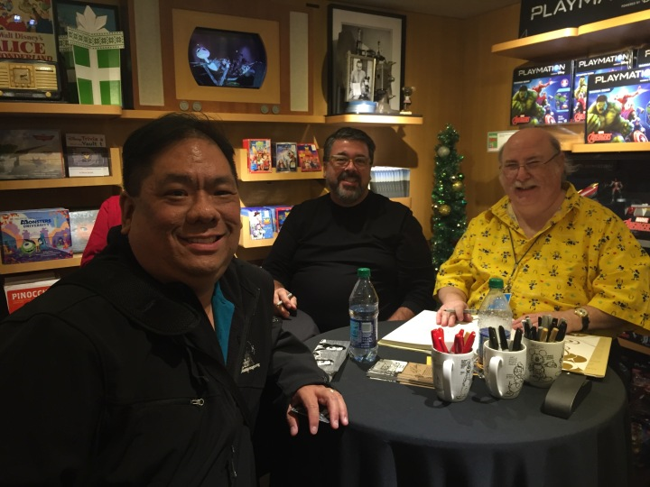 Getting my book signed by Eric Goldberg and David Bossert at the Disney Studio Store
