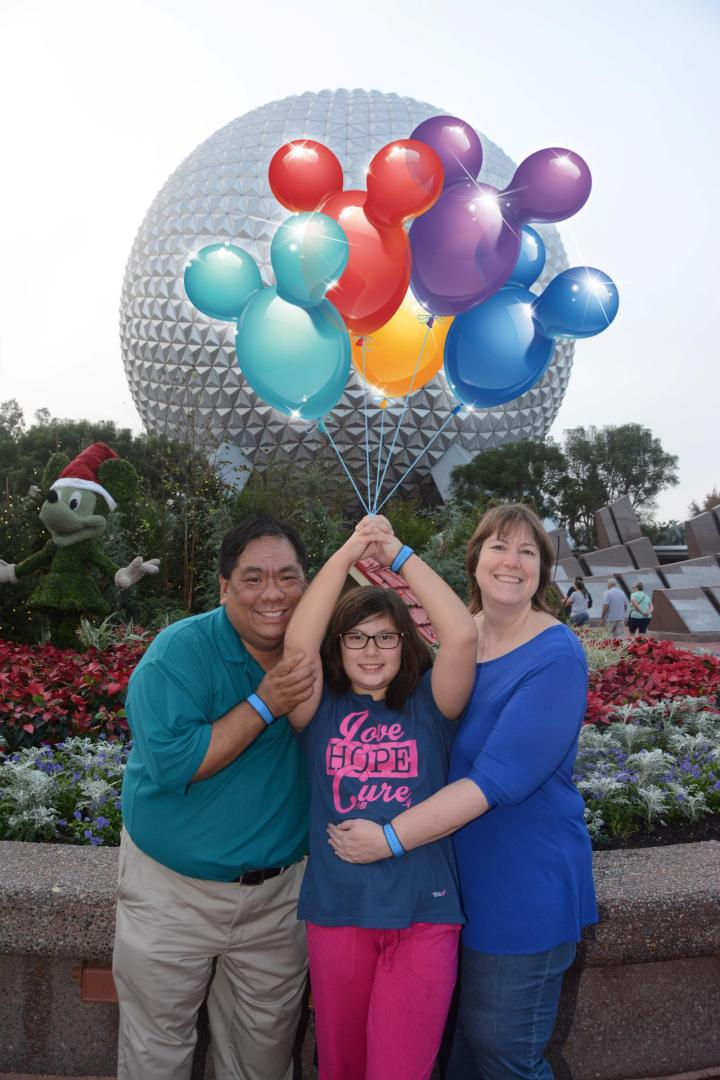 Our Disney Photo Pass picture complete with digitized balloons! So cool to immediately download and share this