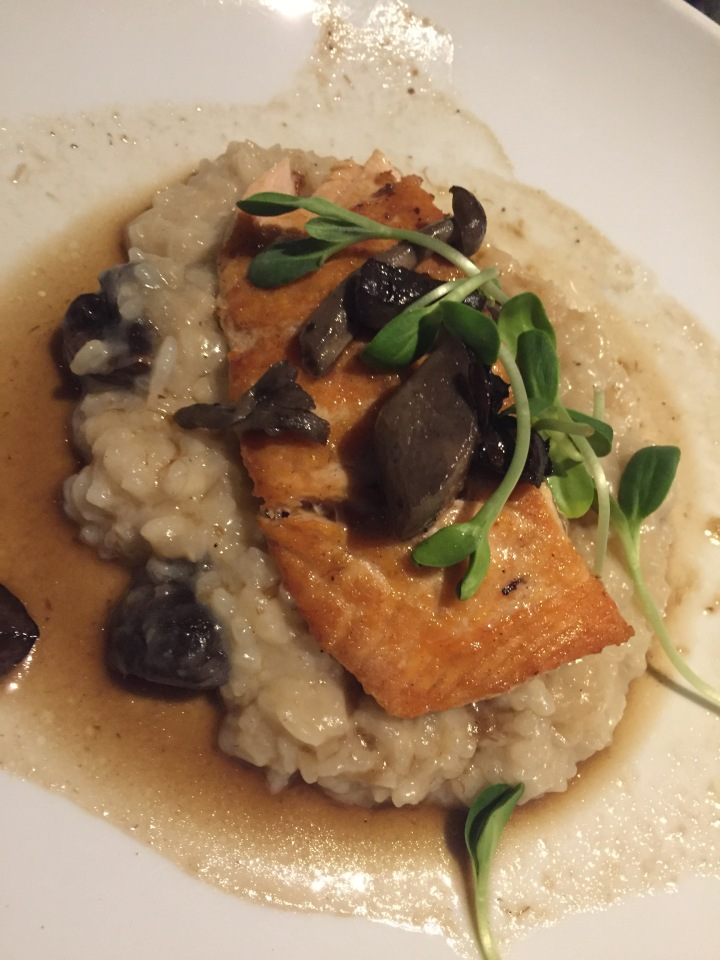 My pan-seared salmon with mushroom risotto - so delicious