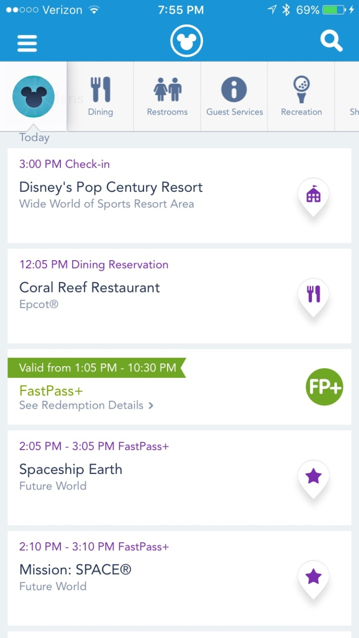 Sample image of the home page of your My Disney Experience app - doesn't even begin to show you all the neat things it can do