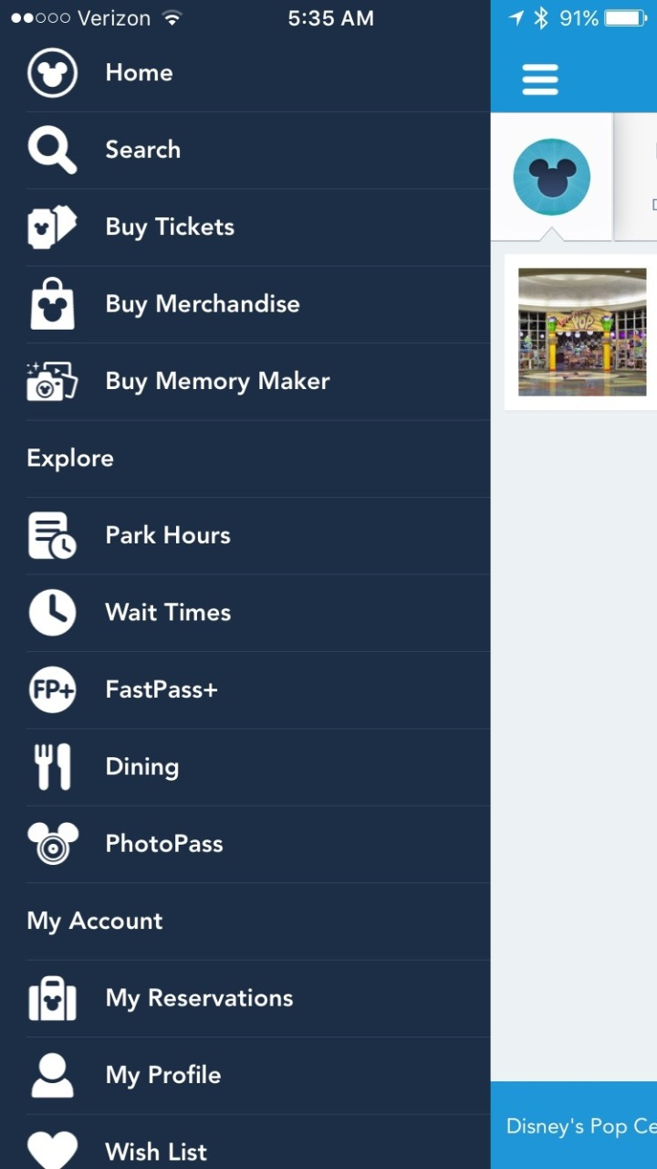 Just some of the many options available to you on the new My Disney Experience app