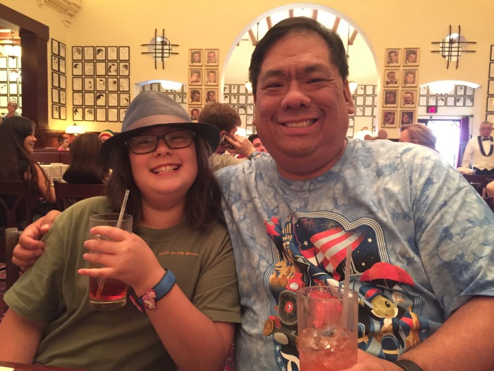 My daughter and I enjoying Shirley Temples at the Hollywood Brown Derby