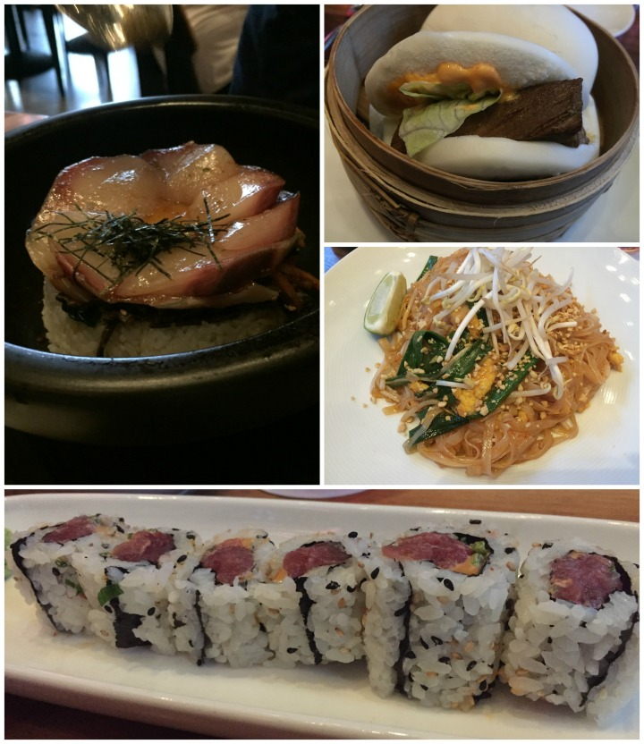 "Clockwise: The ""Buri-Bop"" before being assembled at the table; the Kakuni Pork Bao; Pad Thai; Spicy Tuna Roll"