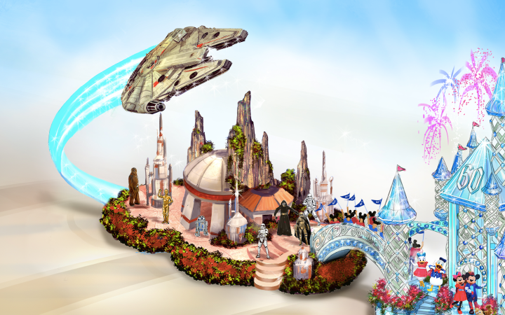 The Star Wars portion of Disneyland's 60th anniversary float features the Millennium Falcon and characters like Kylo Ren and Captain Phasma