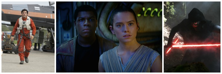 L to R: Poe, Finn, Rey, and Kylo Ren from Star Wars: The Force Awakens. All photos courtesy of Disney