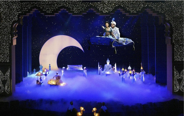 "A WHOLE NEW WORLD OF LIVE ENTERTAINMENT: Aladdin and Princess Jasmine literally take to air over the heads of audience members in ""Disney's Aladdin: A Musical Spectacular"" at Disney California Adventure Park in Anaheim, Calif."