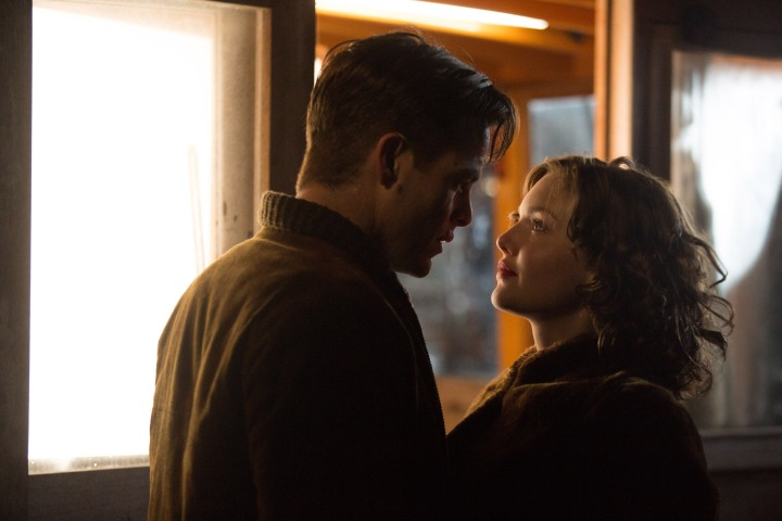 Chris Pine stars as Bernie Webber and Holliday Grainger as Miriam in the heroic action-thriller THE FINEST HOURS, based on the extraordinary true story of the most daring rescue mission in the history of the Coast Guard.