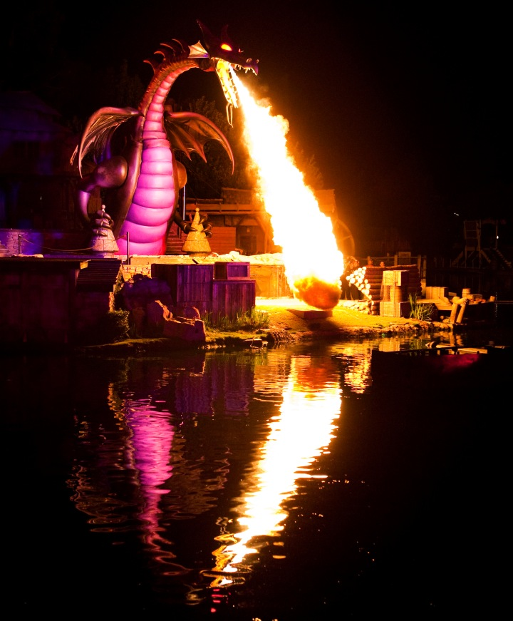 FANTASMIC! -- Guests will enjoy magical thrills in the popular Fantasmic! spectacular on the Rivers of America. Recent enhancements include the climactic transformation of the evil Maleficent from Sleeping Beauty into a fully animated 40-foot-tall dragon. (Paul Hiffmeyer/Disneyland)