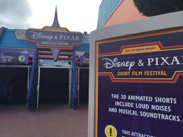 The entrance for the newly unveiled Disney and Pixar Short Film Festival - replacing Captain EO which quietly disappeared as of December 6