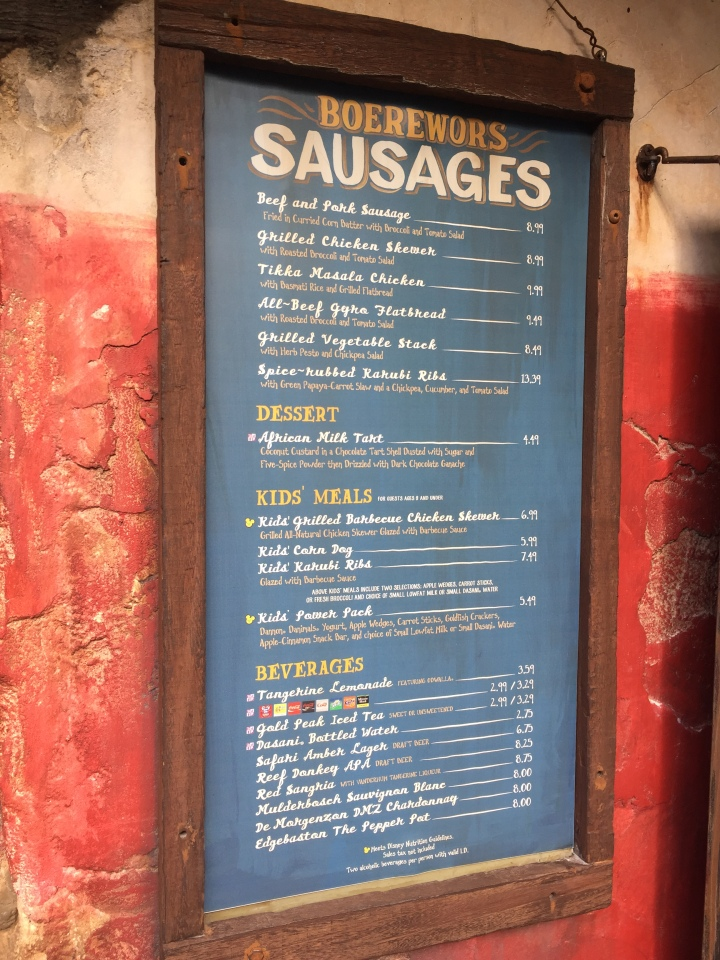 The menu outside of Famous Sausages. Interestingly, each location has a slightly different menu.