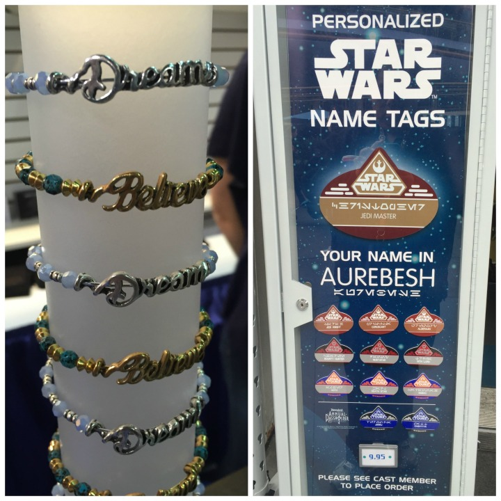 L: ALEX AND ANI on display at D23 Expo 2015, R: Right under the old Rocket Jets you can get your personalized Star Wars name tags at Disneyland