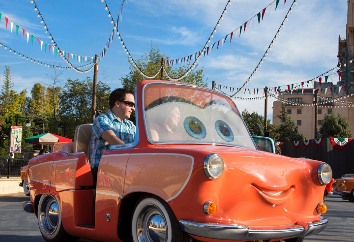 LUIGI'S ROLLICKIN' ROADSTERS (ANAHEIM, Calif.) – Guests enjoying a ride aboard Disney California Adventure's newest attraction - Luigi's Rollickin' Roadsters. (Paul Hiffmeyer/Disneyland Resort)