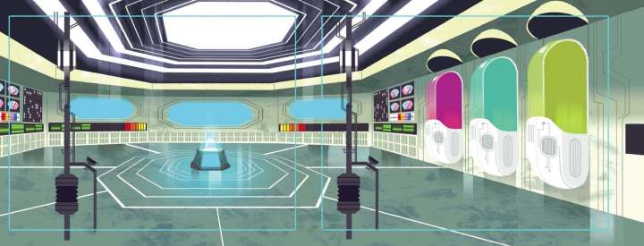 Headquarters concept for the 2D Super Team show Sanjay watches at the beginning of the short