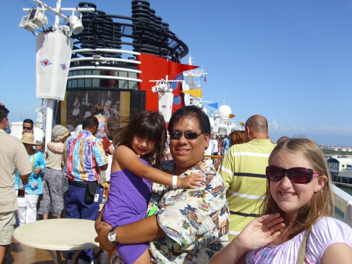 On the top deck for the launch party on board the Disney Wonder - our first cruise in 2010
