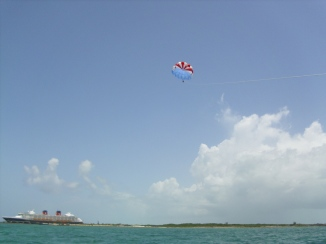 That little blip in the sky is me! Parasailing was so much fun and very peaceful. But not for those afraid of heights!