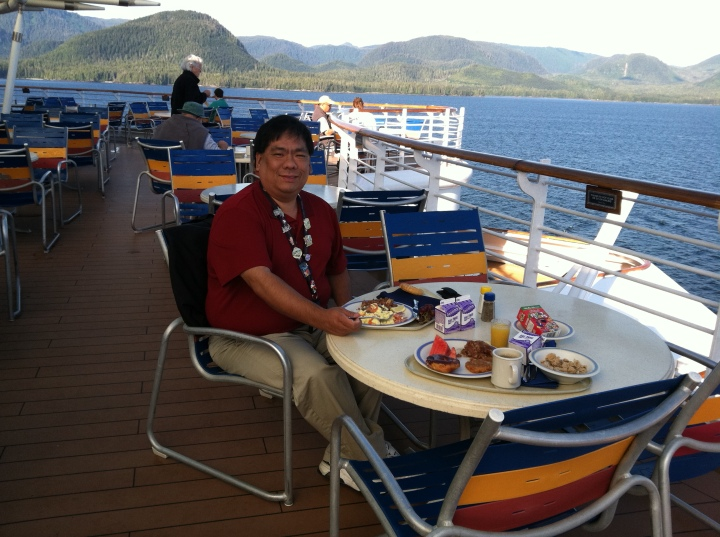 Eating quietly on deck for breakfast on our second cruise to Alaska in 2011