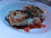 Blackened cod on a bed of potatoes at Animator's Palate