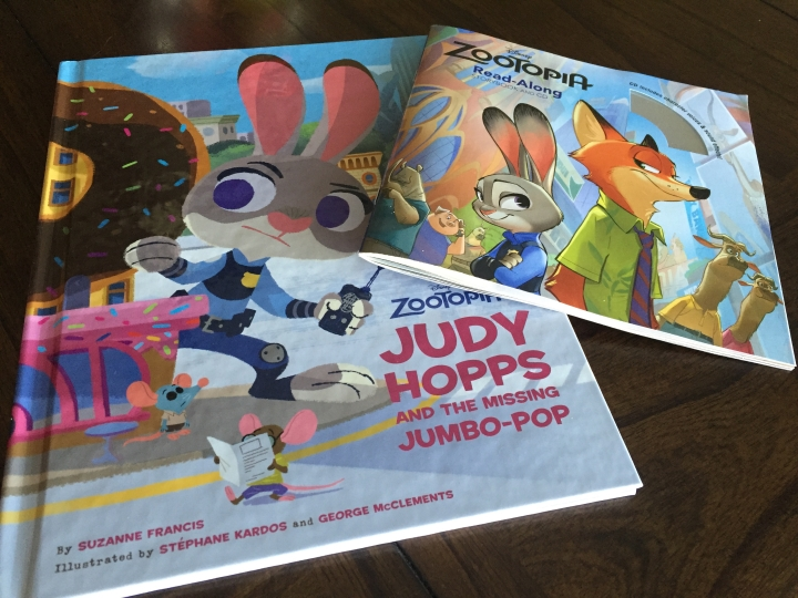 Cover art for both The Missing Jumbo-Pop and the Zootopia Read-Along