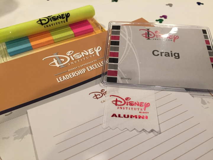 The Disney Institute certainly makes you feel welcome - and gives you all the tools you'll need to succeed right down to the paper!