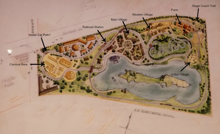 Details of Mickey Mouse Park with added markers showing where those proposals might have taken shape
