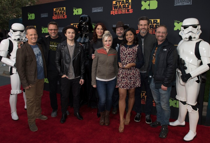 "STAR WARS REBELS - The cast and creative team of Disney XD's popular animated saga ""Star Wars Rebels"" attend a screening of the highly anticipated season two finale on MONDAY, MARCH 28 at the Walt Disney Studios Main Theatre in Burbank, California. The shocking ""Star Wars Rebels"" one-hour season two finale airs WEDNESDAY, MARCH 30 (9:00 p.m. ET) on Disney XD. (Disney XD/Todd Wawrychuk) STORMTROOPER, DEE BRADLEY BAKER, STEVE BLUM, TAYLOR GRAY, DARTH VADER, VANESSA MARSHALL, ASHLEY ECKSTEIN, DAVE FILONI (EXECUTIVE PRODUCER), TIYA SIRCAR, SIMON KINBERG (EXECUTIVE PRODUCER), HENRY GILROY, STORMTROOPER"