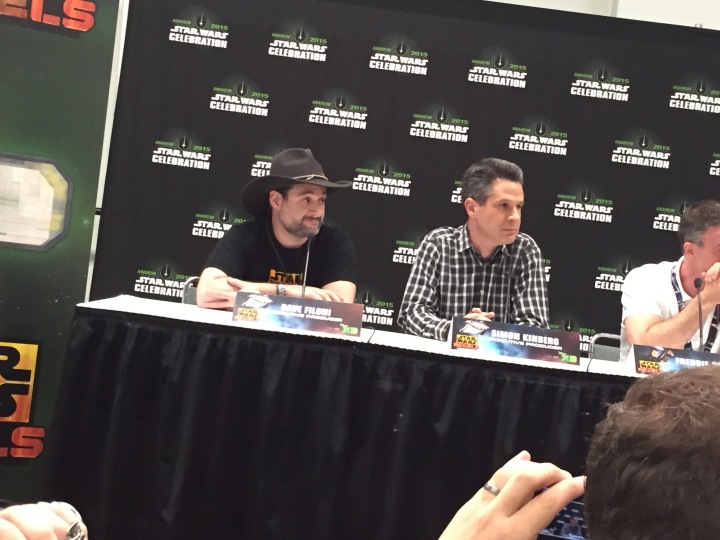 Dave Filoni and Simon Kinberg at the Star Wars Celebration 2015 press conference