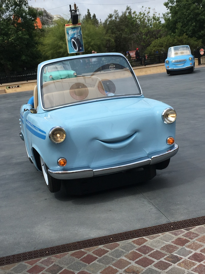 One of the very cute ride vehicles at Luigi's Rollickin' Roadsters