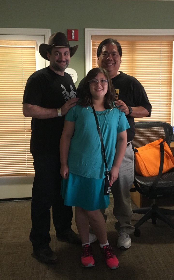 Dave Filoni kindly takes a picture with me and my daughter Emma