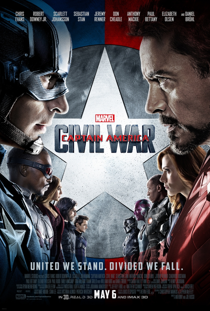 Captain America: Civil War movie poster featuring the two teams (minus Ant Man and Spider-Man)
