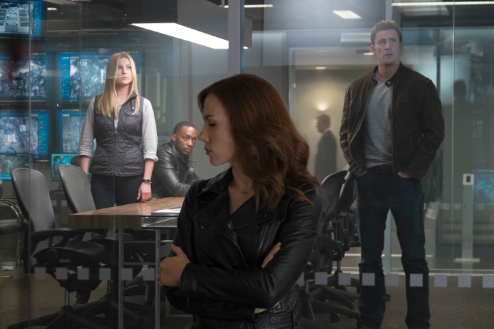 Marvel's Captain America: Civil War..L to R: Sharon Carter/Agent 13 (Emily VanCamp), Sam Wilson/Falcon (Anthony Mackie), Natasha Romanoff/Black Widow (Scarlett Johansson), and Steve Rogers/Captain America (Chris Evans)..Photo Credit: Zade Rosenthal..copyright Marvel 2016