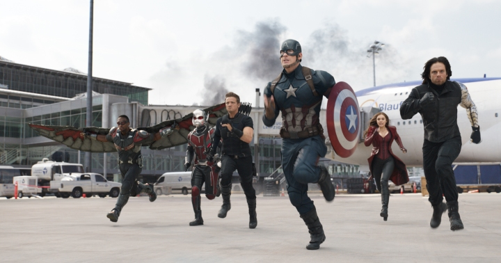 L to R: Falcon/Sam Wilson (Anthony Mackie), Ant-Man/Scott Lang (Paul Rudd), Hawkeye/Clint Barton (Jeremy Renner), Captain America/Steve Rogers (Chris Evans), Scarlet Witch/Wanda Maximoff (Elizabeth Olsen), and Winter Soldier/Bucky Barnes (Sebastian Stan); Photo Credit: Film Frame © Marvel 2016