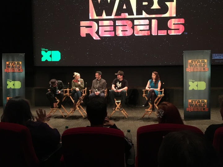 L to R: Taylor Gray, Ashley Eckstein, Simon Kinberg, and Dave Filoni answering questions about Star Wars Rebels
