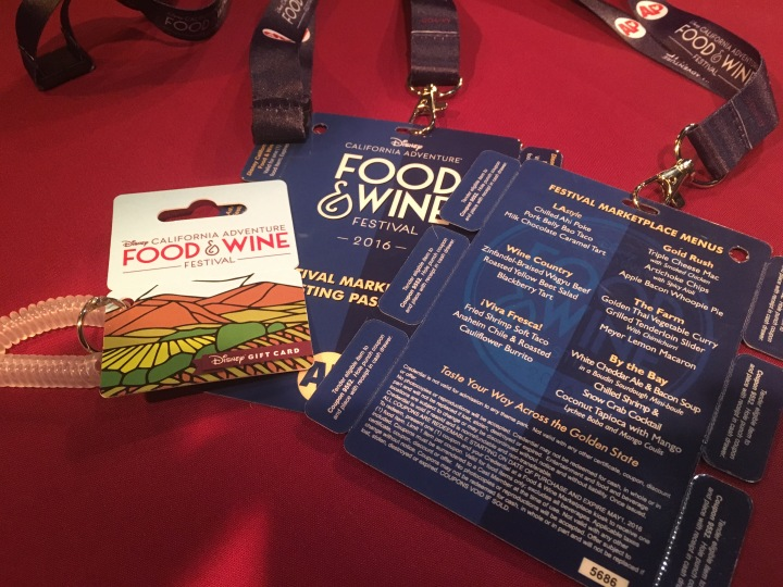 The Food and Wine exclusive gift card with the AP Tasting Passport (front and back)