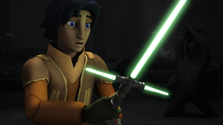Ezra finds a cross guard lightsaber in the Jedi temple on Lothal