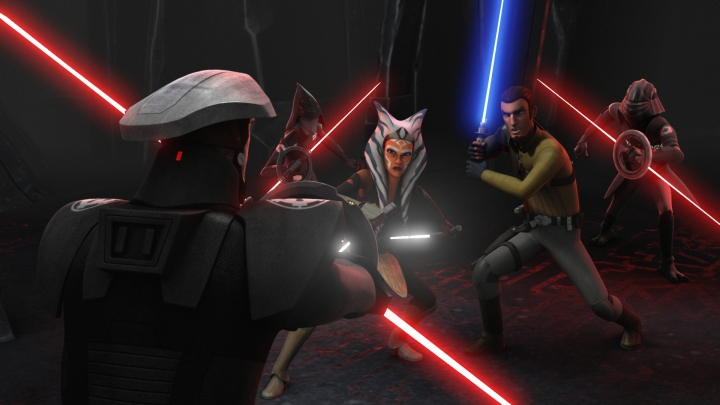 Kanan and Ahsoka facing off against three Inquisitors